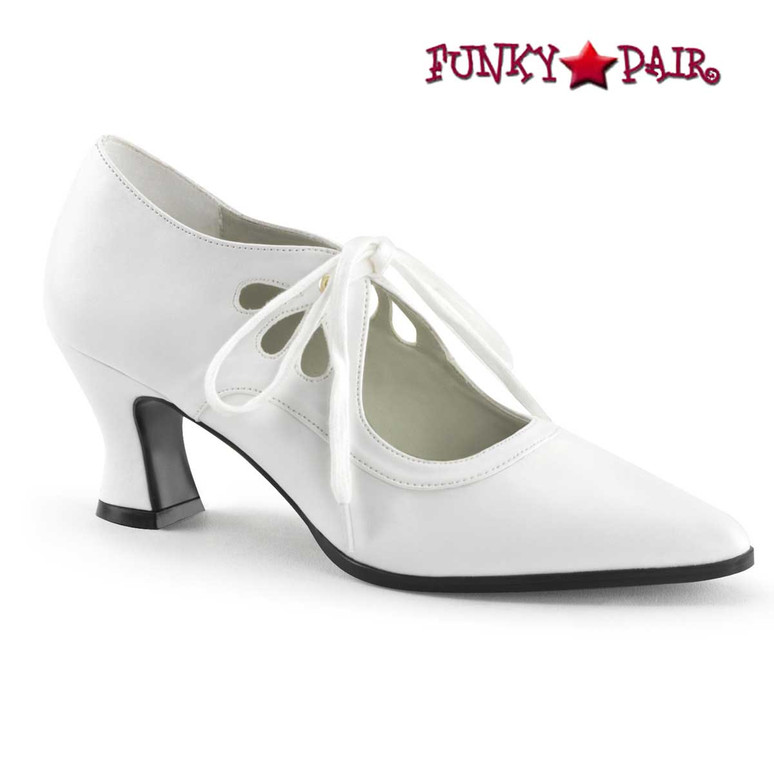 Victorian-03, White Kitten Heel Costume Pump | Funtasma
