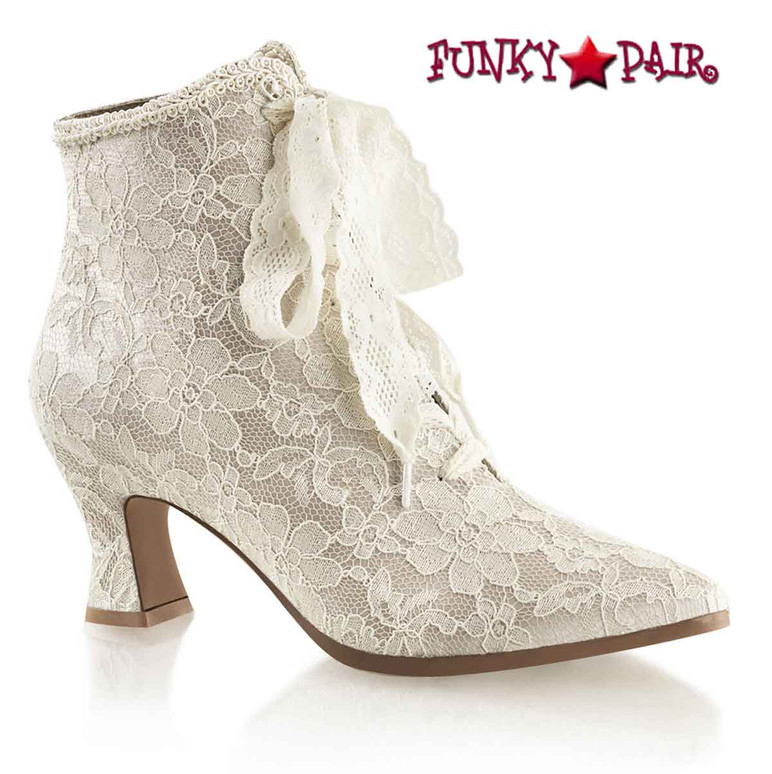 Champagne VICTORIAN-30, 2.75 inch flair heel lace up ankle boots with lace overlay