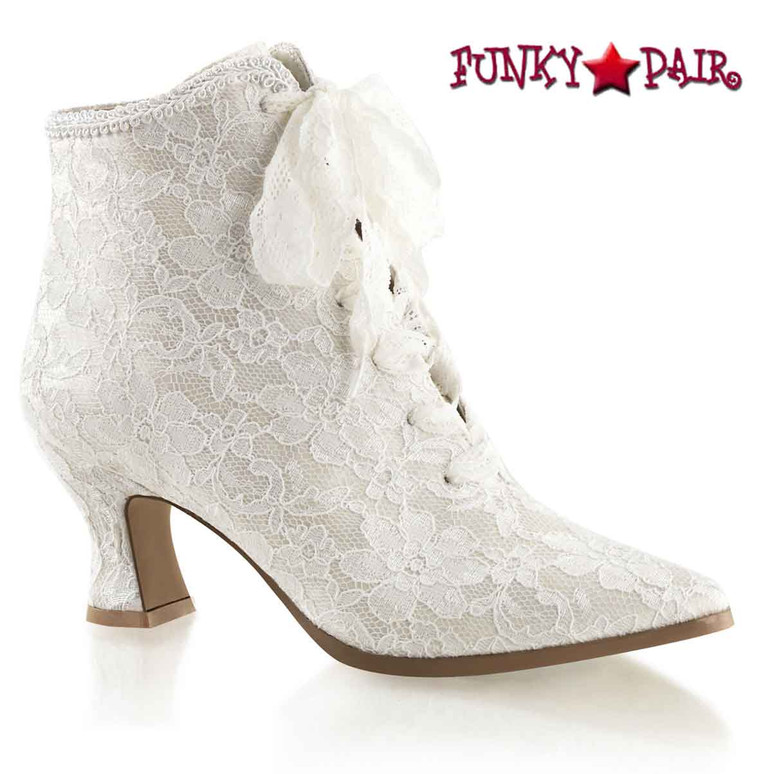 White VICTORIAN-30, 2.75 inch flair heel lace up ankle boots with lace overlay