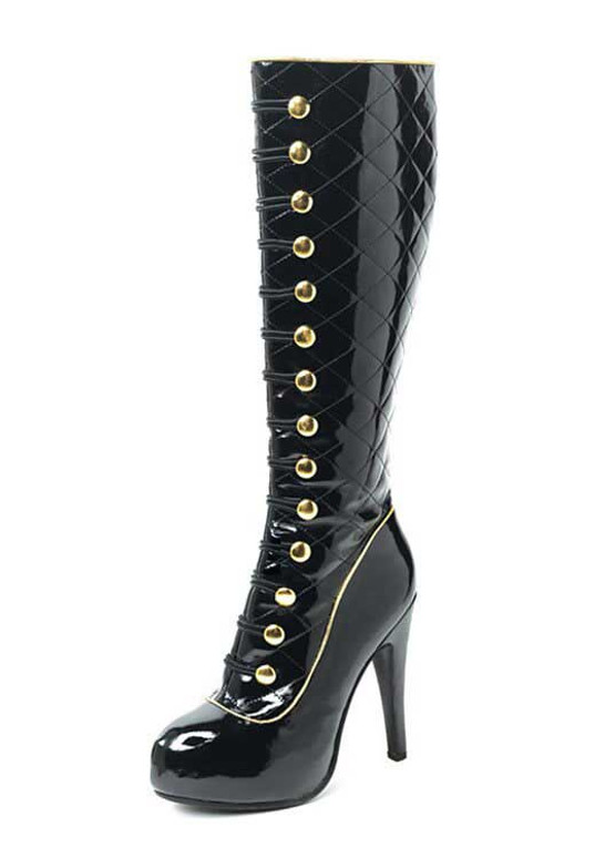 LA-5033-Uptown Quilted Spat Boot with Buttons Accent | Costume Boots