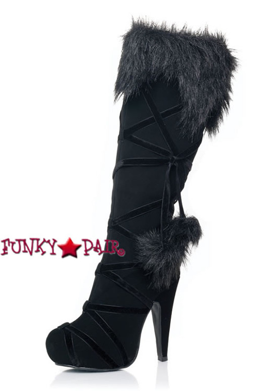 LA5038-Warrior, 4.5 Inch Stiletto Heel Microfiber Knee High Boots with Pom Pom