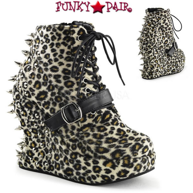 BRAVO-23, 5 Inch Wedge Ankle Boots with Spikes Leopard Print