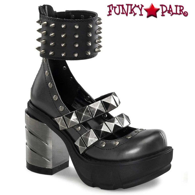 SINISTER-62, 3.5 inch ABS Heel with Wide Ankle Cuffs Made by Demonia
