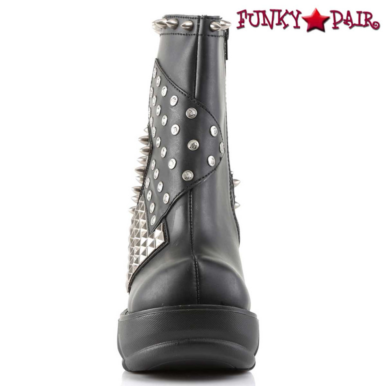 SINISTER-64, Spikes & Pyramid Studs Ankle Bootie by Demonia Front View