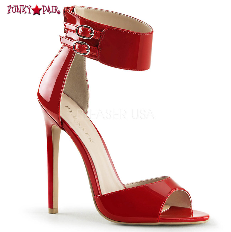 Pleaser | Sexy-19. Dual Buckled Ankle Strap Sandal  color red