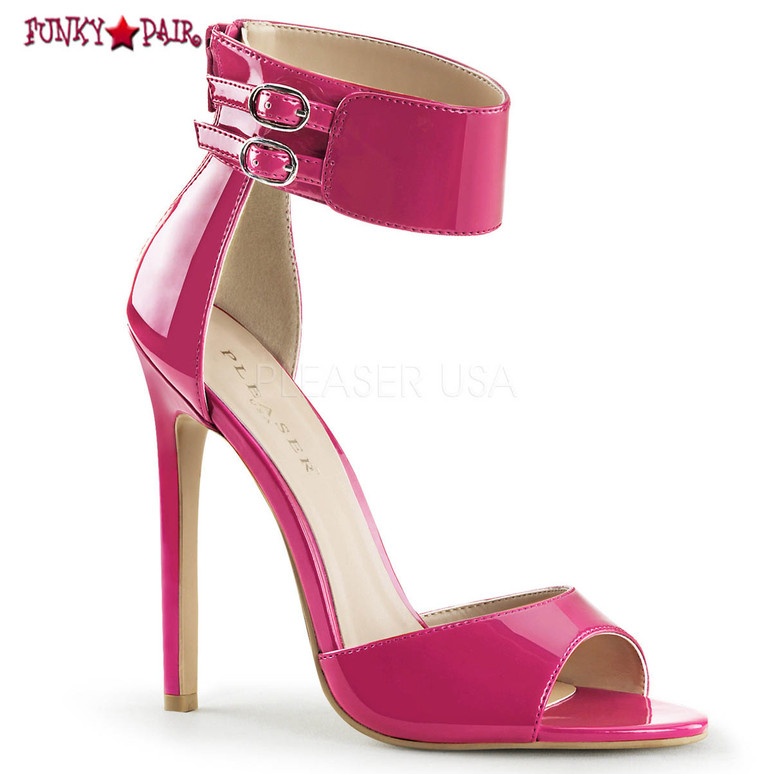 Sexy-19. 5 Inch, stiletto Heel, Dual Buckled Ankle Strap Sandal color hot pink