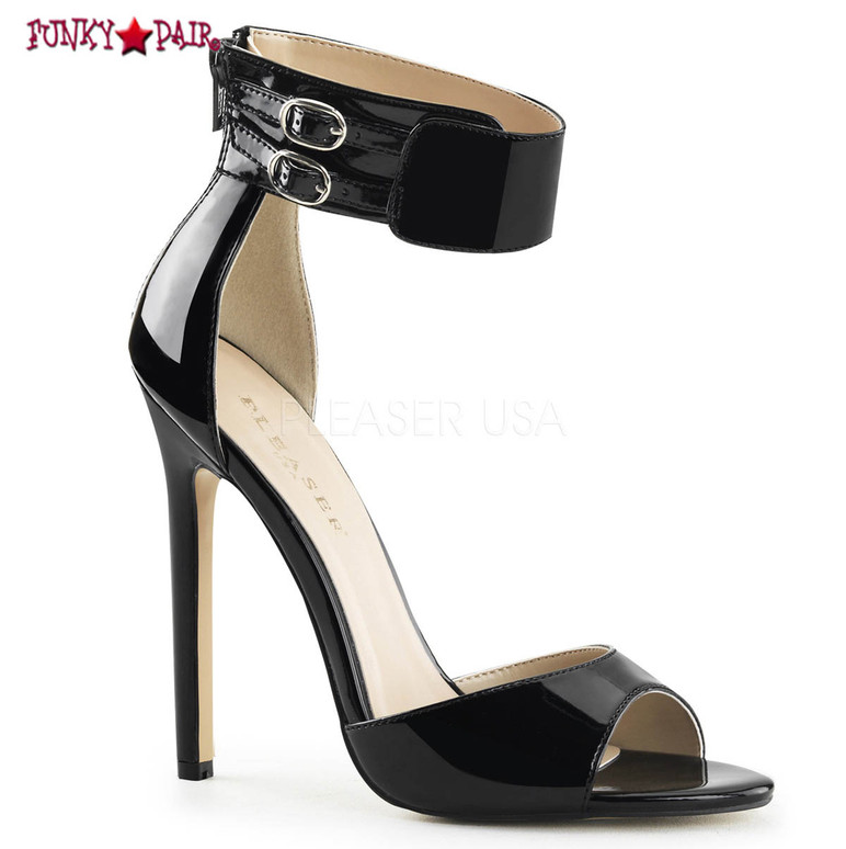Sexy-19. 5 Inch, stiletto Heel, Dual Buckled Ankle Strap Sandal color black