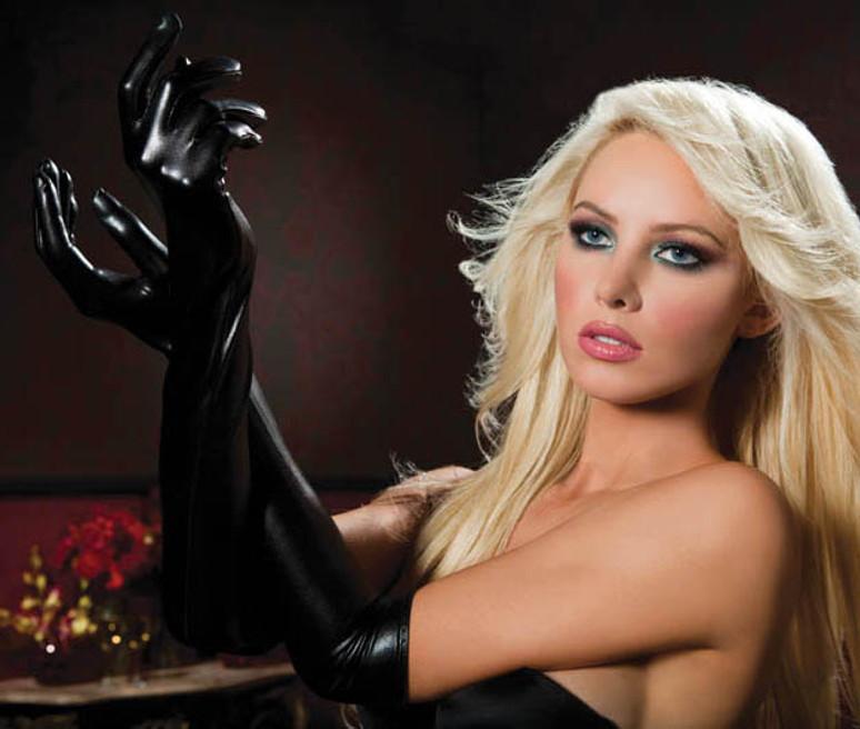 Black Lame Opera Length Gloves (STM-40110)
