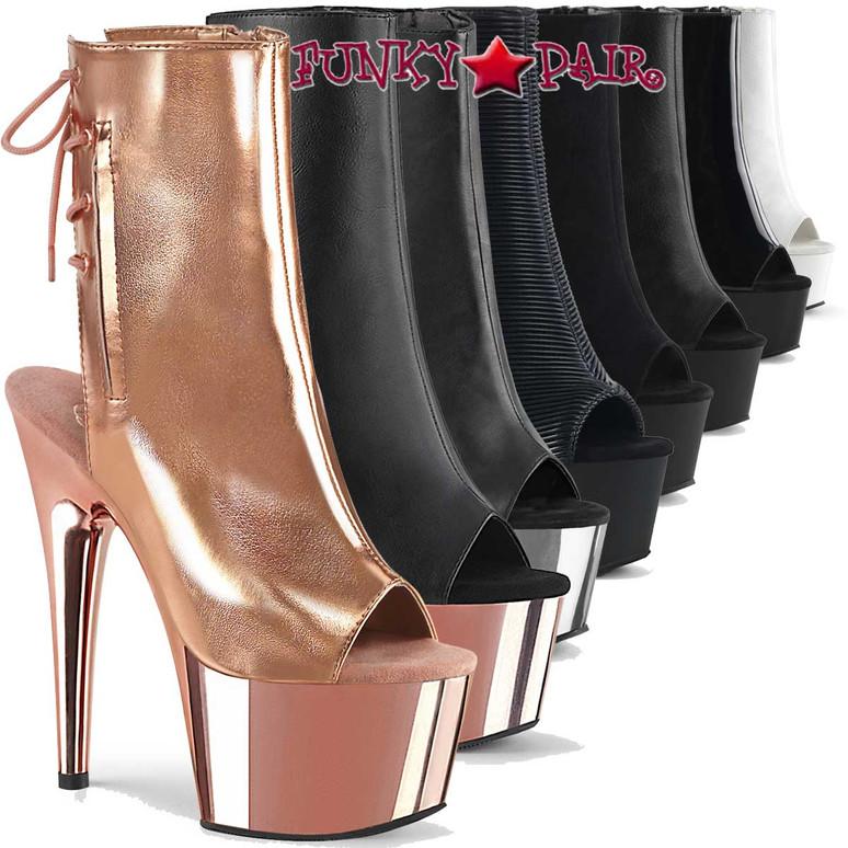 """Pleaser   Adore-1018, 7"""" Platform Dancer Ankle Boots"""