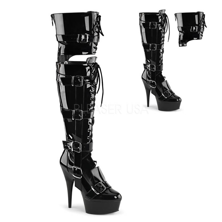 Delight-3068, 6 Inch Over the Knee Boots color black patent