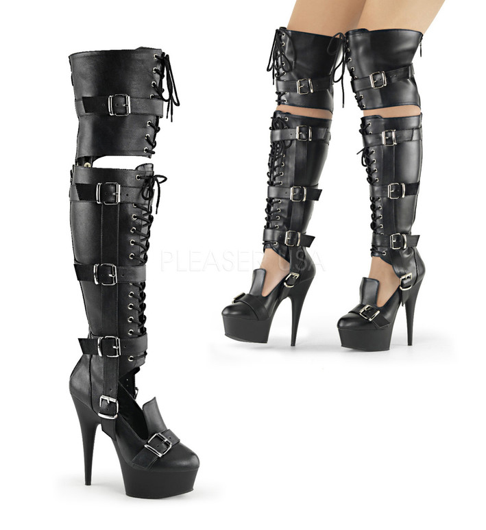 Pleaser | Delight-3068, 6 Inch Over the Knee Boots color black faux leather