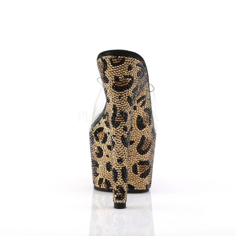Bejeweled-701LP, 7 Inch Slide with Rhinestones in Leopard Pattern back view