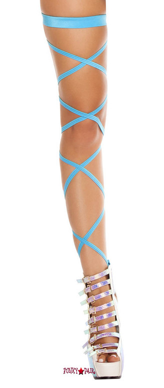 Turquoise Solid Leg Strap with Attached Garter