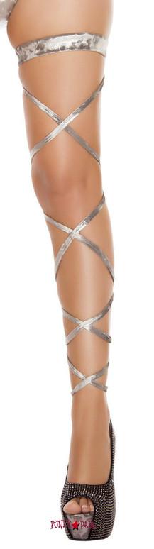 Silver Velvet Leg Wrap rave wear