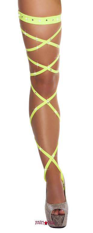 Lime Rhinestones Leg Wrap
