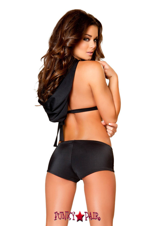 Rave Cut out Romper with Hood   Roma R-3083 color black back view