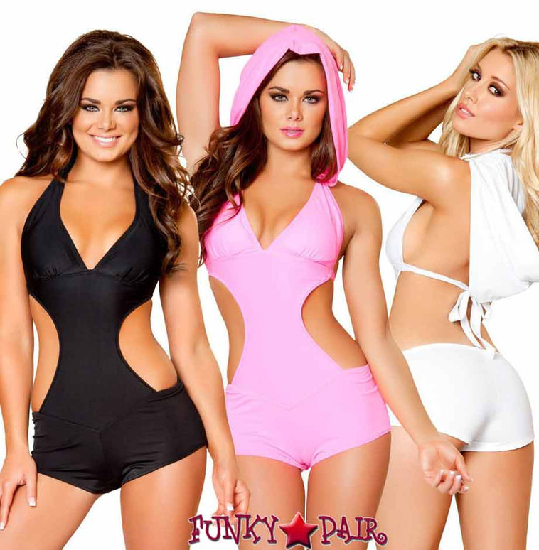 Rave Cut out Romper with Hood   Roma R-3083 color available: black and white