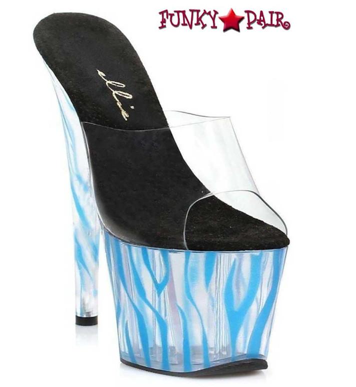 "709-Zebra 7"" Blue Zebra Pattern Platform by Ellie Shoes"
