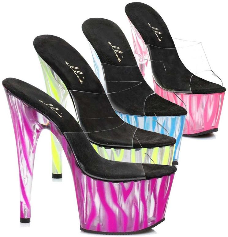 "709-Zebra 7"" Platform Shoes with Zebra Pattern by Ellie Shoes"