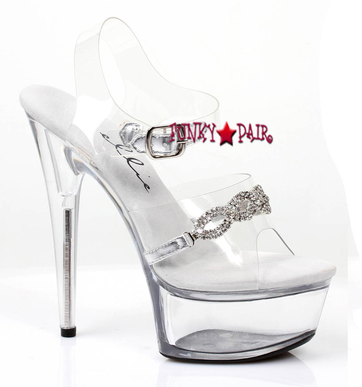 6 inch stiletto clear ankle strap sandal with rhinestones ornaments