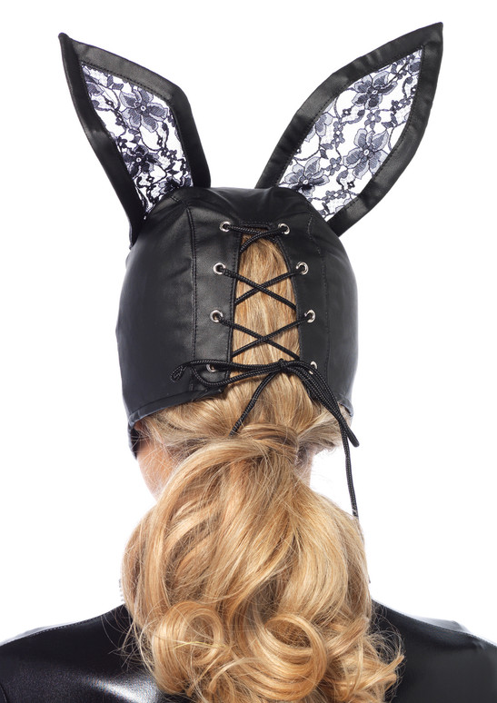 LA3745, Bunny Mask with Lace Ears back view