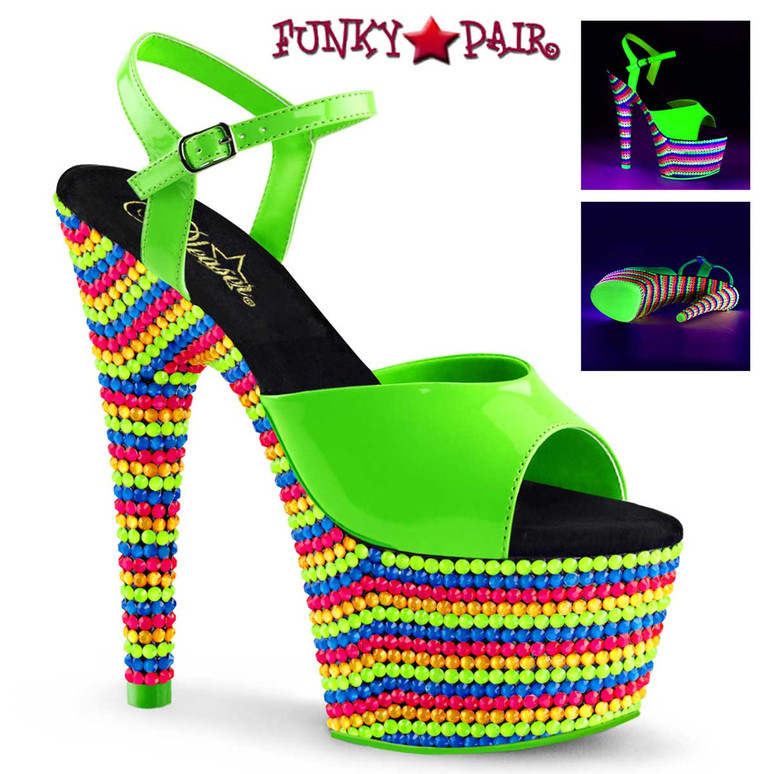 Pleaser Shoes Adore-709RBS Color Neon Green