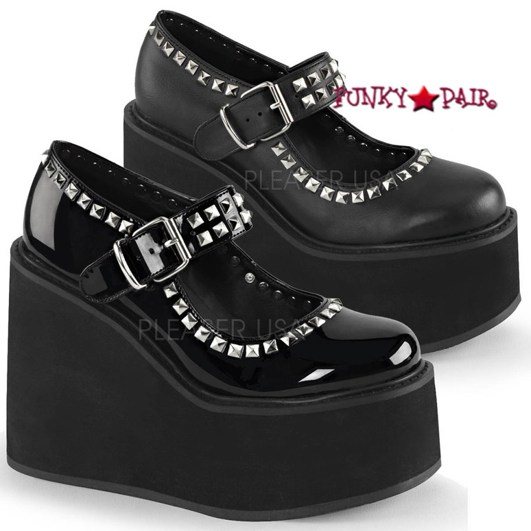 Swing-03, 5.5 inch wedge platform maryjane with studds