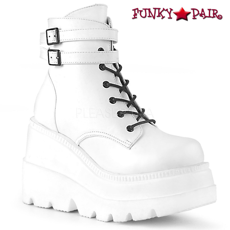 Shaker-52, White RAVER Stack Ankle Boots | Demonia