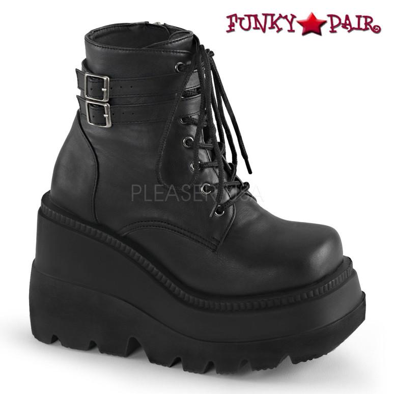 Demonia Shaker-52 Goth Black Vegan Leather Boots