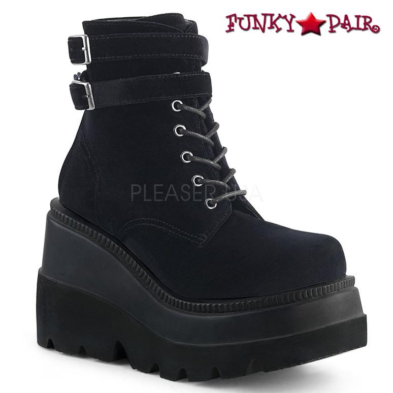 Shaker-52 color Black Velvet Gothic Stack Boots by Demonia