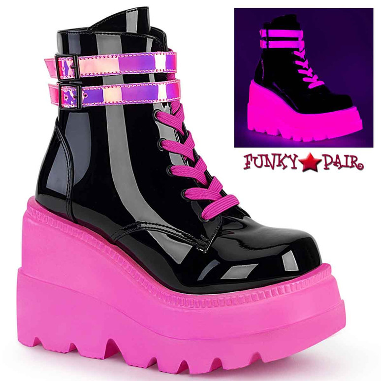 Shaker-52 Neon Pink Stacked Wedge Platform Ankle Boot by Demonia