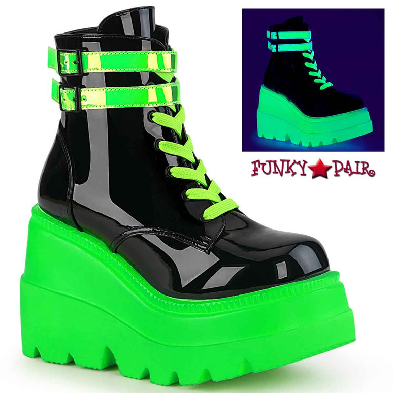 Demonia | Shaker-52 Neon Green Stacked Wedge Platform Ankle Boot