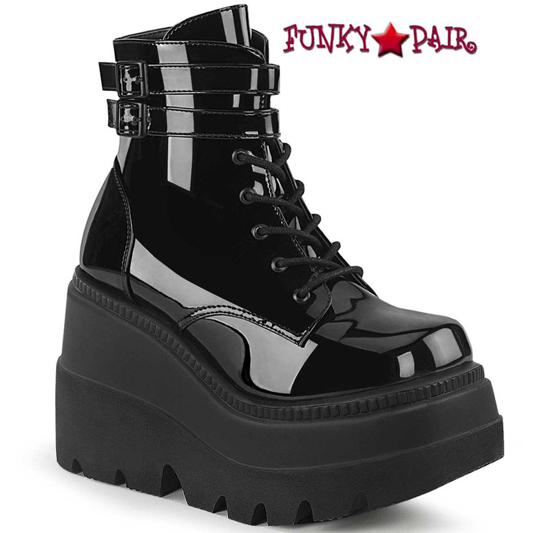 Shaker-52 Black Gothic Stack Boots by Demonia