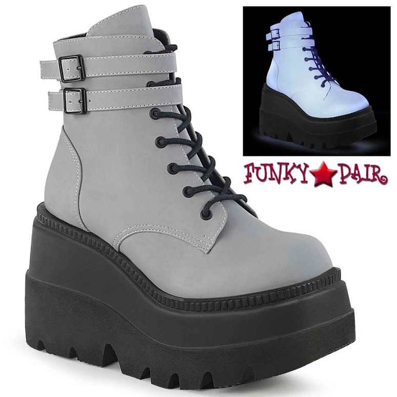 Shaker-52 Grey Stacked Wedge Platform Ankle Boot by Demonia