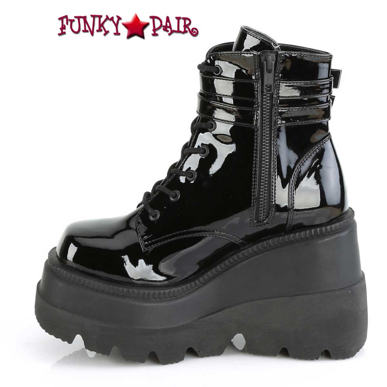 Shaker-52 Zipper Side View Stacked Wedge Platform Ankle Boot by Demonia