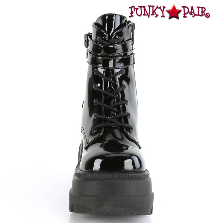 Shaker-52 Front Side View Stacked Wedge Platform Ankle Boot by Demonia
