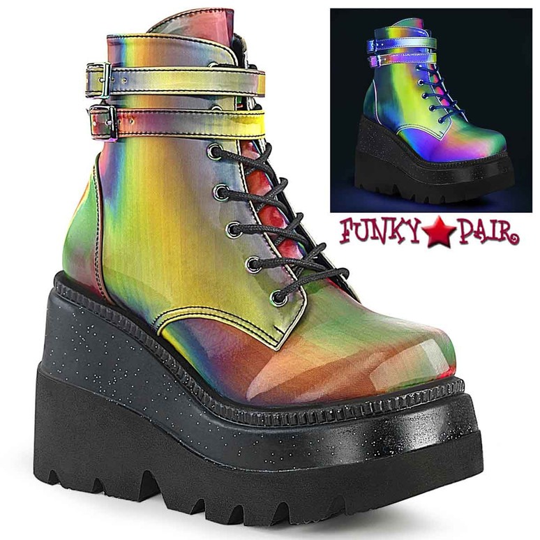 Shaker-52 Rainbow Multi Color Stacked Wedge Platform Ankle Boot by Demonia