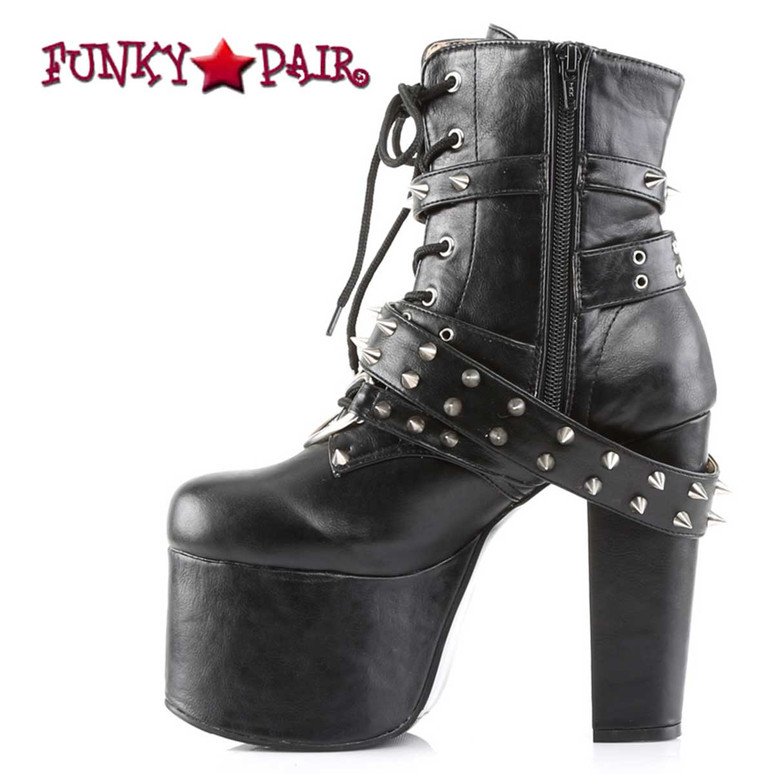Torment-700 by Demonia Goth Ankle Boot Zipper Side View