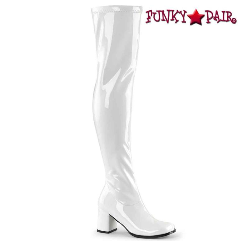 Gogo-3000, White Thigh High Go Go Boot | Funtasma