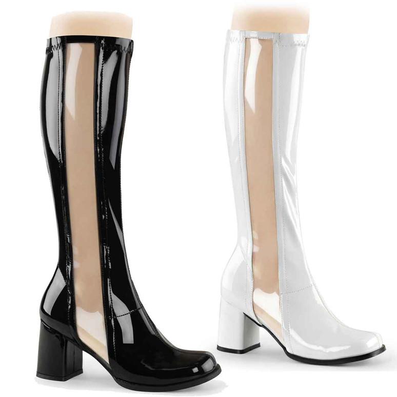 Clear Stripe GOGO-303 Boots | Funtasma