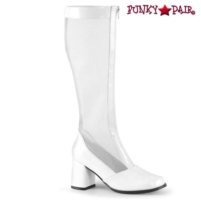 White GOGO-307, Block Heel GoGo Mesh Boot | Pleaser