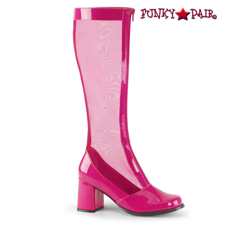 GOGO-307, Hot Pink Block Heel GoGo Mesh Boot | Pleaser