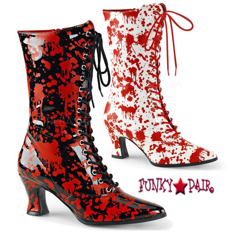 Funtasma | Victorian-120BL, Bloody Print Costume Boots
