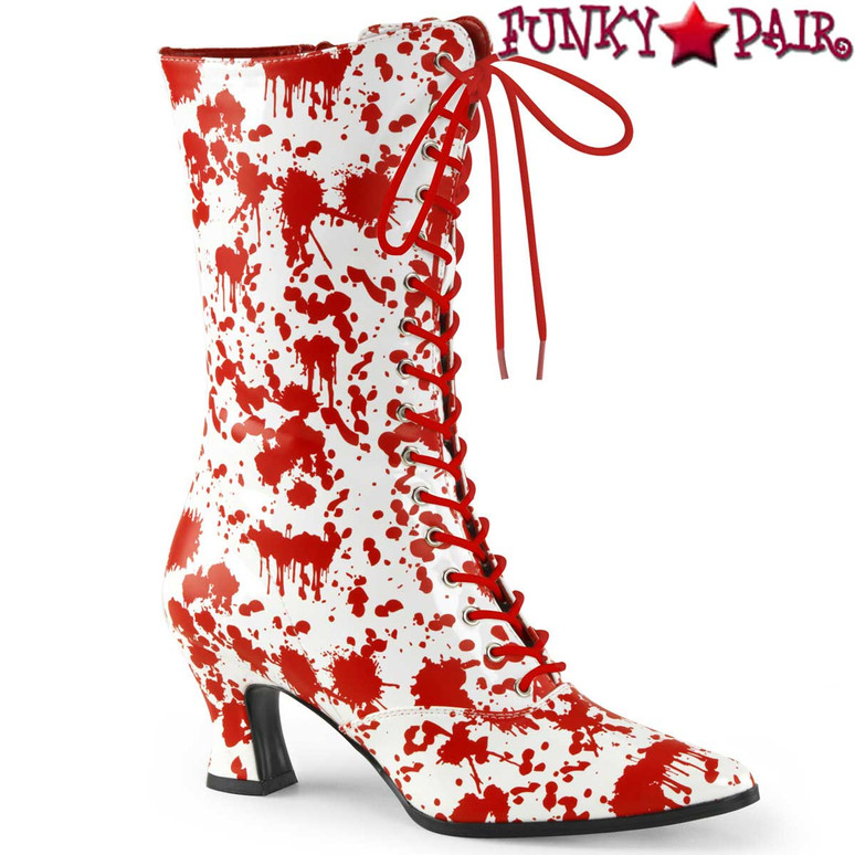 Red/White Bloody Print Costume Boots | Funtasma Victorian-120BL