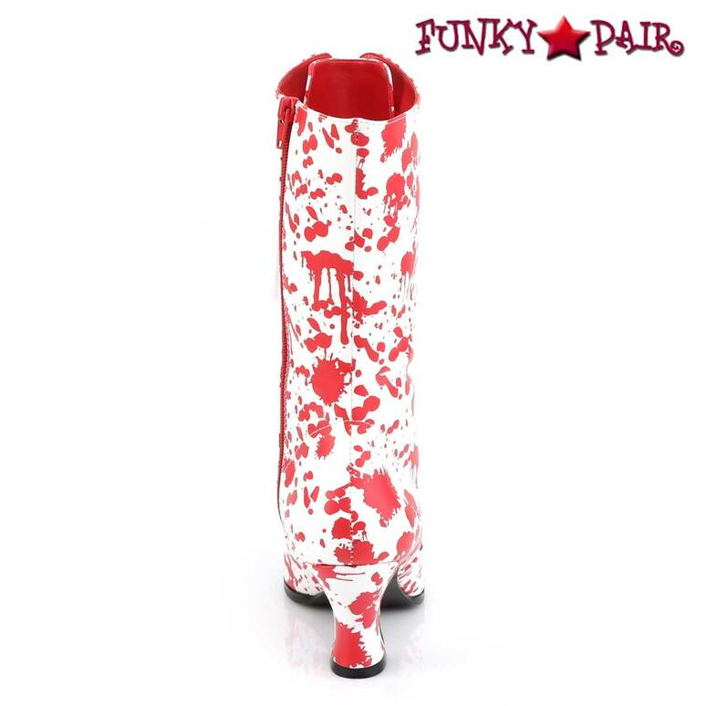 Victorian-120BL, Bloody Print Costume Boots   Funtasma Back View