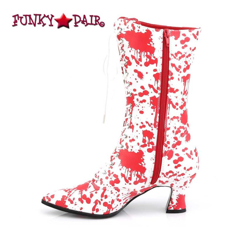 Victorian-120BL, Bloody Print Costume Boots | Funtasma Zipper Side View