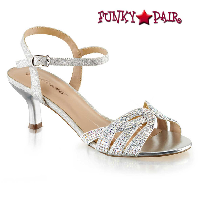 "3.5"" kitten Criss Cross Evening Sandal with Rhinestones Fabulicious 