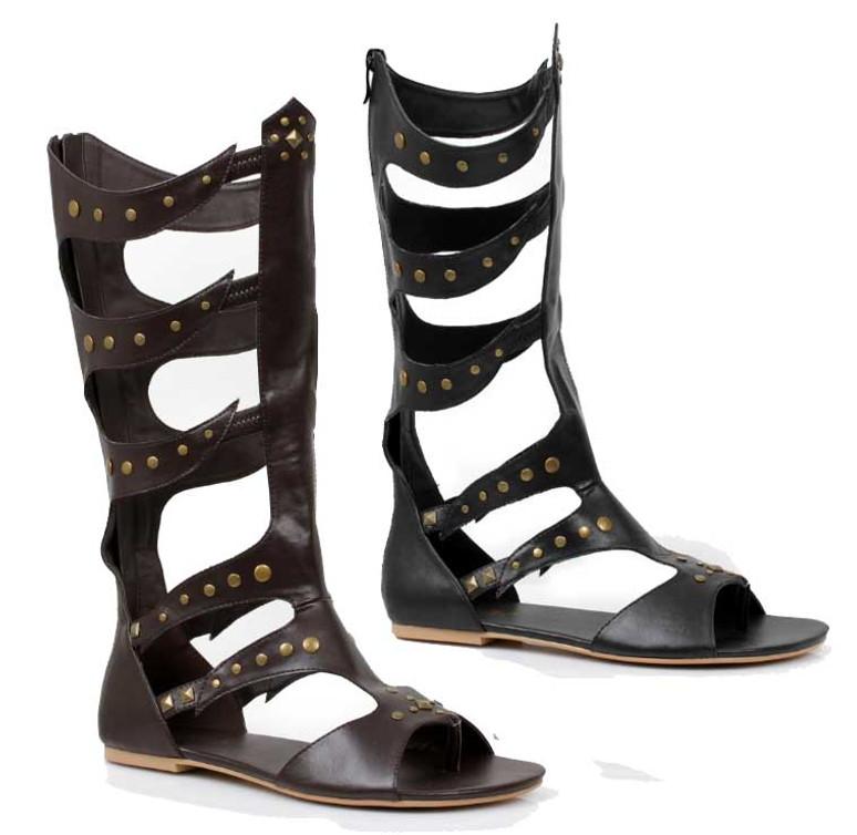 Men's Gladiator Knee High Flat Sandal | Costume Shoes 031-Warrior
