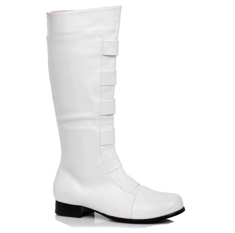 121-Marc, Men's White Super Hero Cosplay Knee High Boots | 1031 Costume Shoes