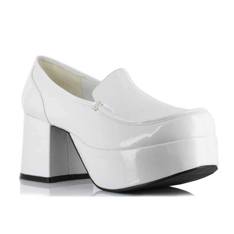 312-Daddio, Men's White 3 inch platform Disco shoes